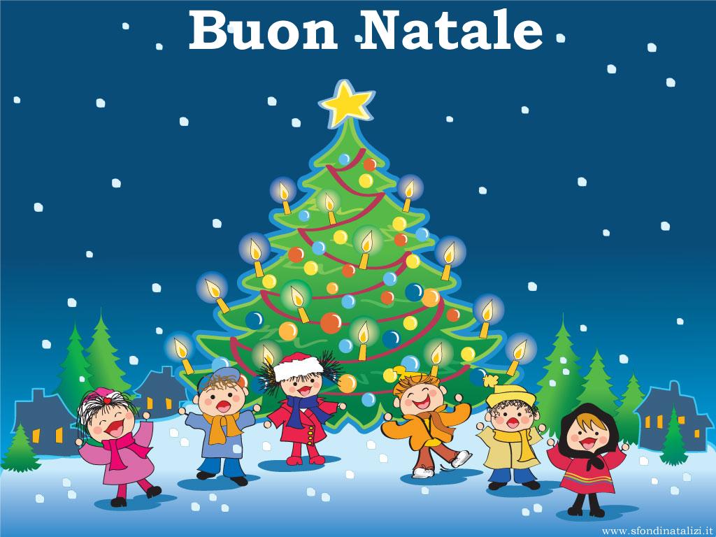 Sfondo Natalizio - Bambini con albero di Natale