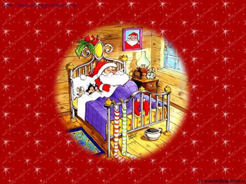 Sfondo Natalizio - Sfondo Babbo Natale che dorme