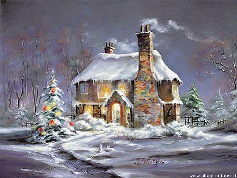 Sfondo Natalizio - Sfondo Casetta natalizia addobbata