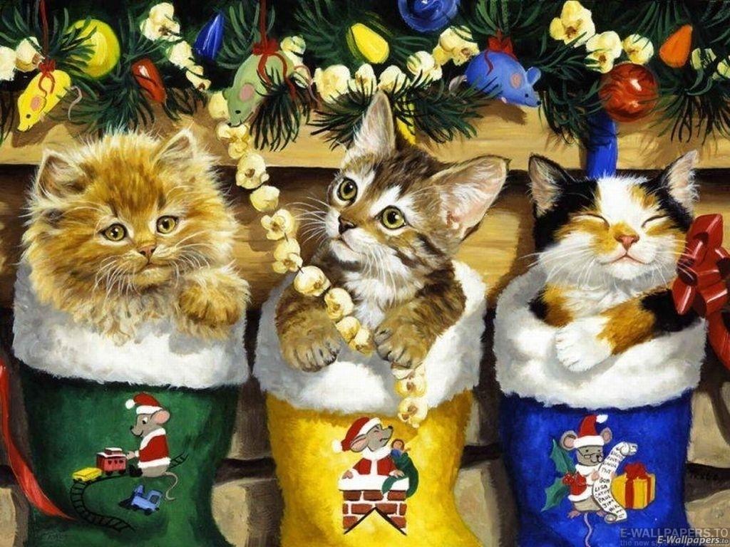 Sfondo Natalizio - Sfondo Gatti di Natale