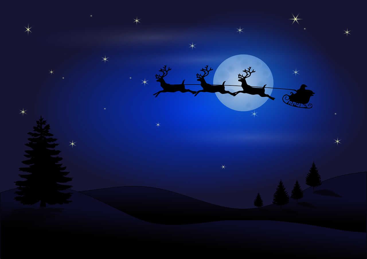 Sfondo Natalizio - Sfondo Babbo Natale con slitta