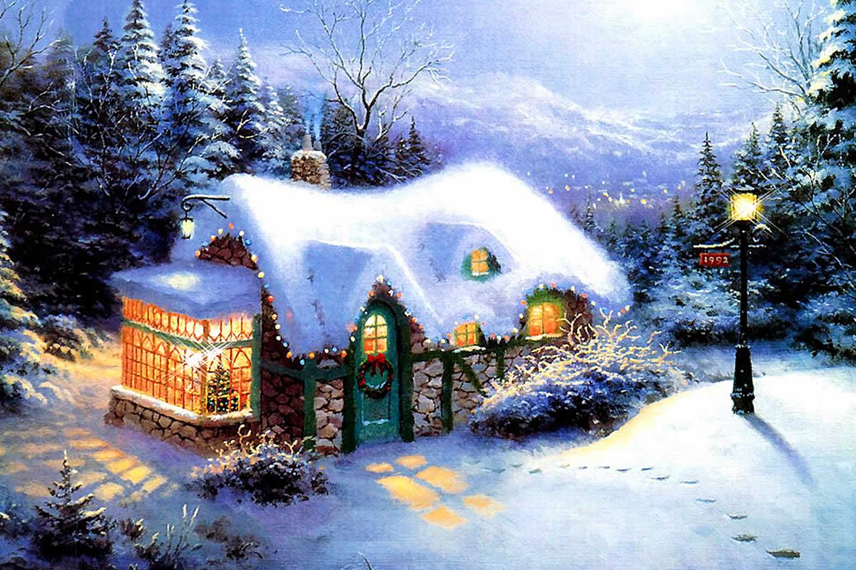Sfondo natalizio casetta